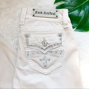 ROCK REVIVAL Jeans Tan Cream Skinny Celinda Sz 30